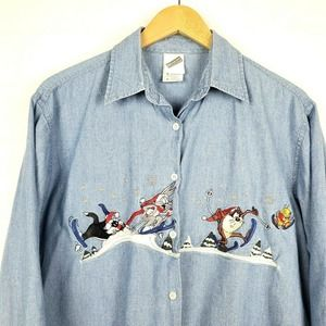VTG 90's Looney Tunes Embroidered Chambray Top S